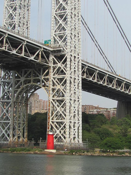 The little red lighthouse sits at the foot of New York's George Washington bridge.