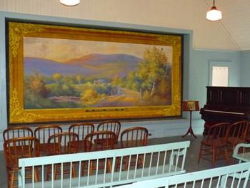 The Sandwich Grange has been newly restored, including this beautiful stage curtain.