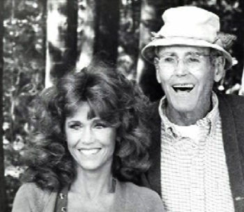 Jane and Henry Fonda on the set of On Golden Pond