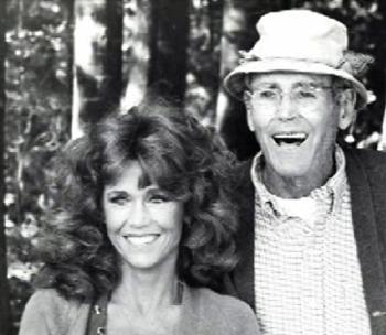 Jane and Henry Fonda on the set of On Golden Pond