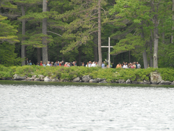 Nondemominational services are held on Chocorua Island in the summertime.