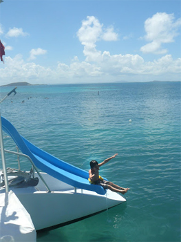 Sliding in the Spanish Virgin Islands.