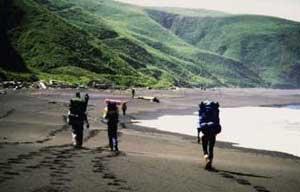 Backpackers on Black Sand Beach