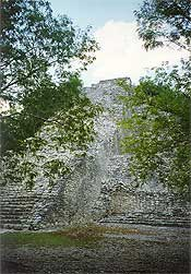 The staircase of Nohoch Mul, the tallest pyramid in the Yucatan, makes some climbers think twice before ascending.