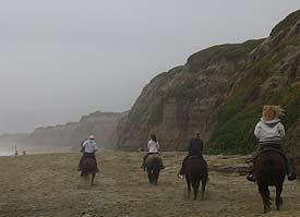 Riding on the beach at Half Moon Bay CA. photo: Drew Gilligan.
