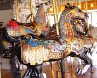 Hand-carved horses on the 1909 Loof Carousel in Riverfront Park