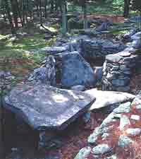 The Sacrificial Table in America's Stonehenge. The slab weighs 4½ tons. Notice the groove along the edges.
