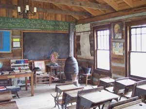 One-room schoolhouse at the Mountain Home Place - photo by Leffel