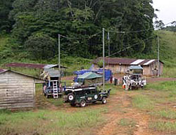 Camped at the border between Gabon and Congo, hoping we would be able to enter Congo the next day.