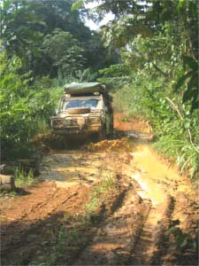 The road on the Congo side of the border leaves much to be desired.