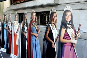 Cutouts of the Harvest Queen contestants