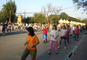 Thais love mass aerobics. Visit any city park in the early evening and you will see large groups of people doing aerobics.