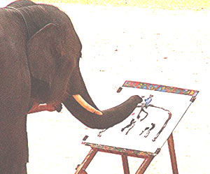 An elephant draws an elephant with a mahout on board.