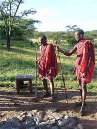 Camp guards on the savannah in Kenya. photos by Marie Javins.