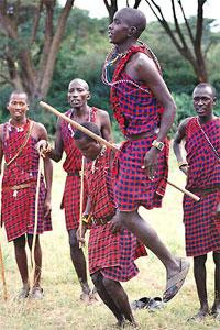 Maasai warrior jumping--to impress girls.