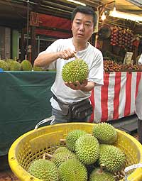 Durian Fruit, a famous and beloved fruit of Asia that stinks! photo by Liz Chow.