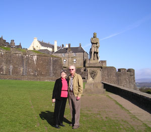 Lynn Rudberg, shown with her husband Tim at Stirling Castle, set out to discover her Scottish roots with the help of Scottish Ancestral Trails.