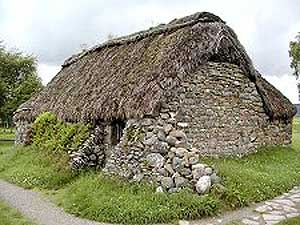 A typical 'black house' in the Scottish Highlands