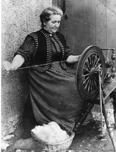 Peter Gray's great-grandmother spinning wool on the Isle of Lewis in the Outer Hebrides in the late 1800s