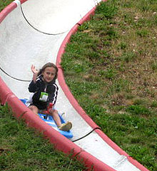 The alpine slide is fun for all ages.