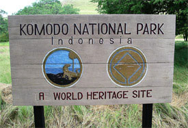 A sign on Rinca Island welcomes visitors.
