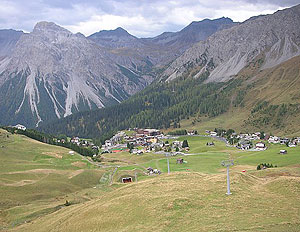 An off-season view from the slopes of the ski resort in Arosa