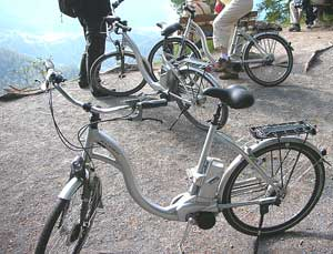 Motor-assisted bikes help travelers power their way around the Flims area.
