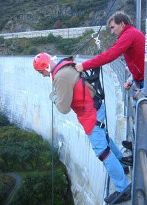 "The author, strapped in for a ""rap jump,"" prepares for the free-fall."
