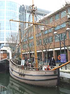 A replica of the good ship Discovery at Canary Wharf in London en route to Jamestown -- photos by Sony Stark