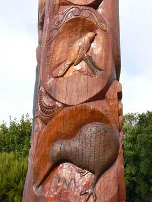 Totem pole near Mount Taranaki.