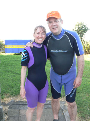Max and Cindy about to go surfing at Oakura.