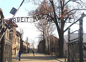 "The infamous symbol of the Nazi concentration camps stating ""Arbeit macht frei"" or ""Work Brings Freedom"" greets guests of the Auschwitz Museum in Oswiecim, Poland."