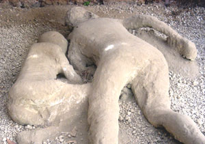 Destroyed yet preserved by a volcanic eruption in 79 AD, Pompeii is one of the most popular tourist destinations in Italy today. Displayed are several plaster casts of villagers killed during the eruption.