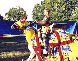 A jouster in the Five Petalled Rose Festival in Cesky Krumlov in the Czech Republic - photos by Annika Dash