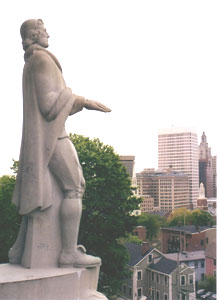 A statue of Roger Williams looks out over Benefit St. Providence. Photos by Tim Lehnert
