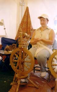 A spinning demonstration at the fair.