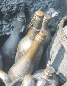Beer bottles in the city's monument