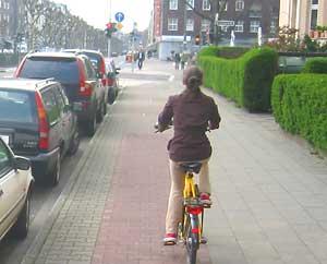 Dusseldorf has lots of bike paths.