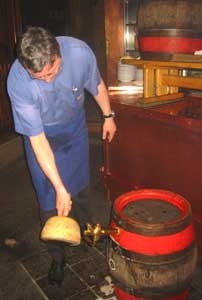 Tapping a barrel at Uerige