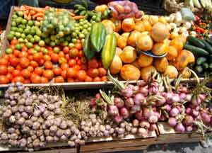 Some of the produce selections available at the food market in Otavalo, Ecuador.