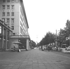 "Taken on Karl-Marx-Allee near Café Sybille. The Karl Marx Buchhandlung store is on the left, and was shown the closing scenes of the film ""The Lives of Others."""