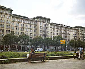"Many of the ""Socialist-Realist"" style structures along Karl-Marx-Allee were originally designed as worker housing."