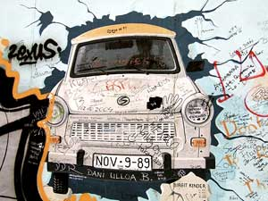 The Trabant mural, one of the most well known murals that is part of the East Side Gallery, sadly covered with graffiti.