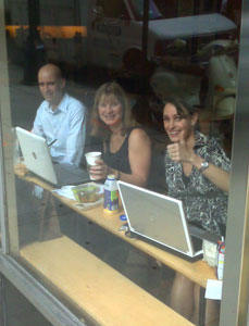 Brink Barrymore, Bianca Bracken, and Brigitta Kroon-Fiorita of the Netherlands Board of Tourism in New York, hosting the historic cyber press trip from their command center at Starbucks