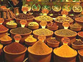 Spices are in abundance in Turkey's bazaars.