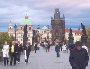 Walking on the iconic Charles Bridge
