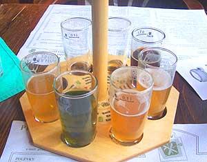 The sample wheel of Pivovarsky Dum's creative micro-beers