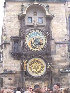 Old Town Hall's astronomical clock. On the hour the twelve apostles make an appearance in the clock's little wooden doors. Photos by Nick Klenske