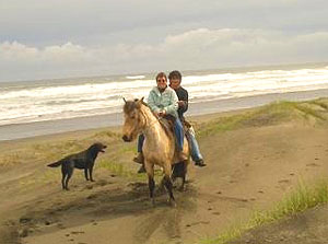The author is assisted by a gaucho on the beach in Chiloe, Chile. Photos by Paola Fornari