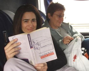 The author and her niece aboard a bus from Chile to Uruguay